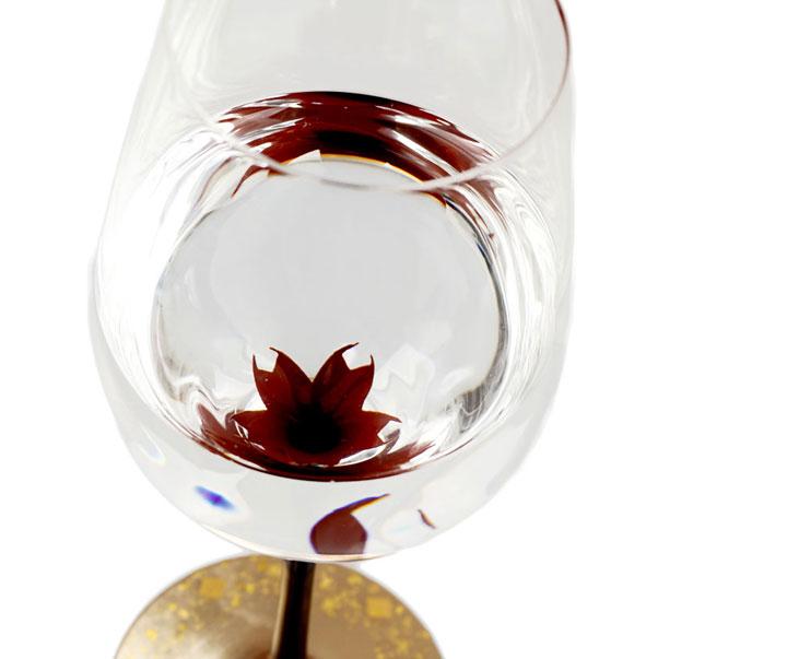 漆絵ワイングラス桜