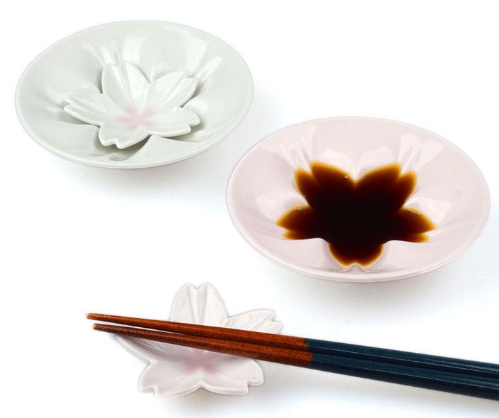 九谷焼の桜小皿&豆皿 紅白ペアセット