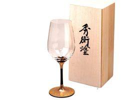 桜の漆絵ワイングラス