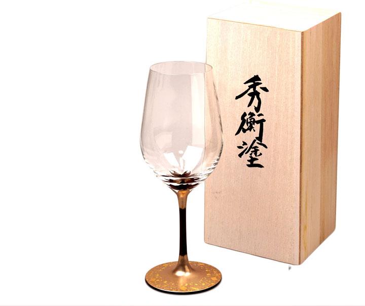 秀平塗・漆絵ワイングラス桜