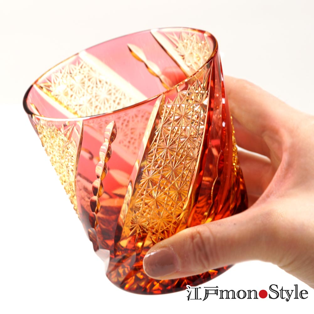 【新商品】江戸切子グラス(風車/金赤×アンバー) をUPいたしました。