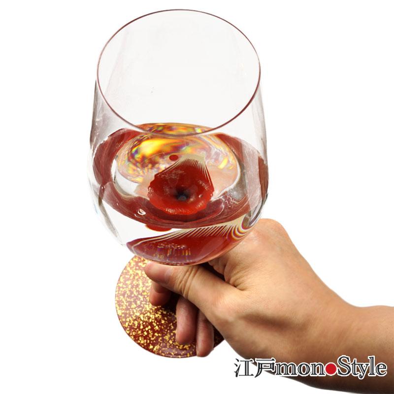 【再入荷】【秀衡塗】漆絵ワイングラス(赤富士) を再入荷しました!
