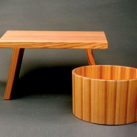 日光杉の湯桶&風呂椅子セット