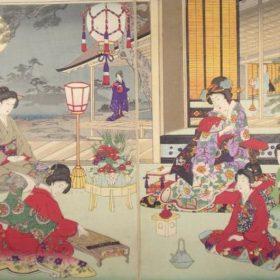 満月を楽しむ女性たちの浮世絵
