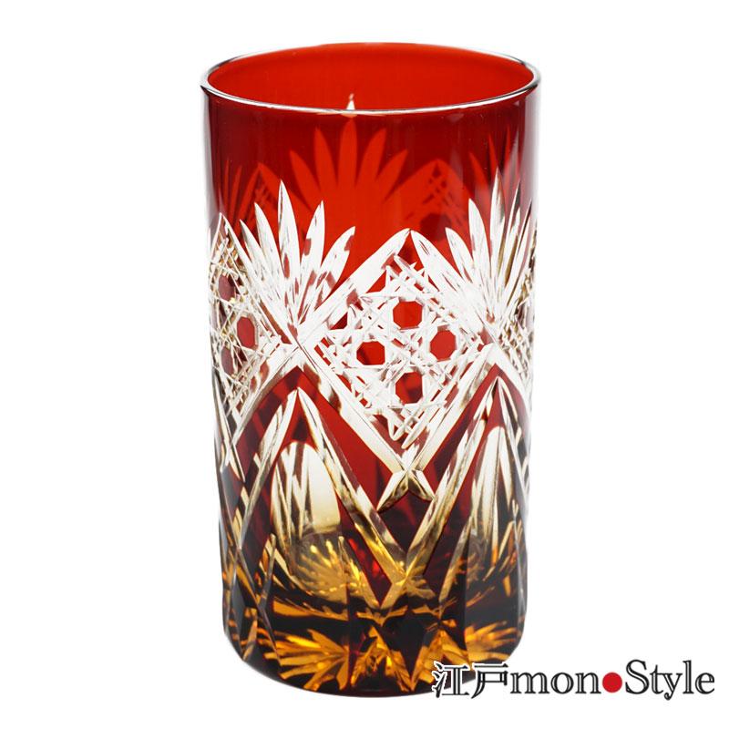 江戸切子タンブラー笹と籠目 赤×アンバー