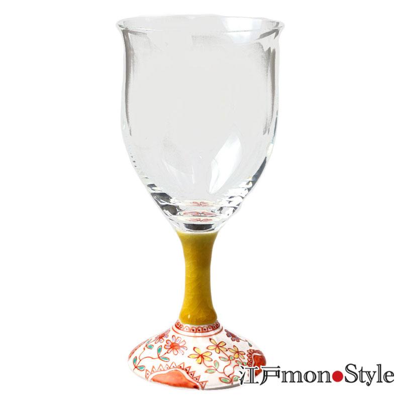 九谷和ワイングラス フラワー