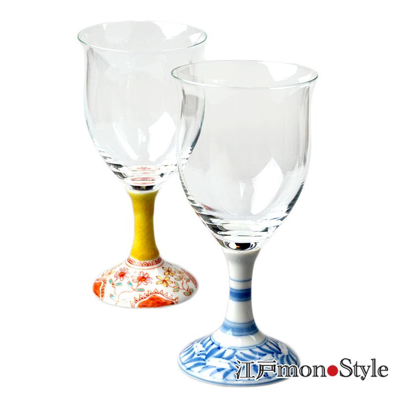 九谷和ワイングラス フラワーと染付ペイズリーのペア