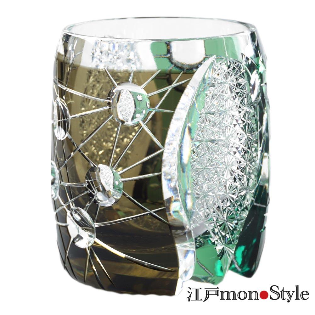 江戸切子グラス プラネット 黒&緑