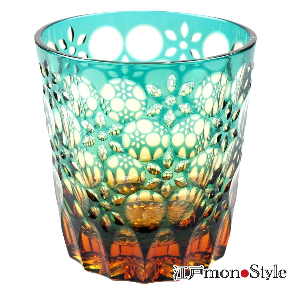 江戸切子グラス万華鏡 緑×アンバー