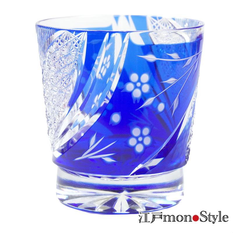 江戸切子グラスしだれ桜 瑠璃