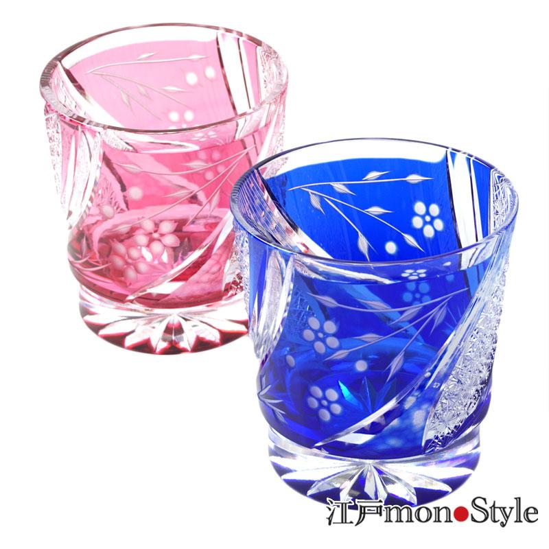 江戸切子グラスしだれ桜 金赤と瑠璃のペア