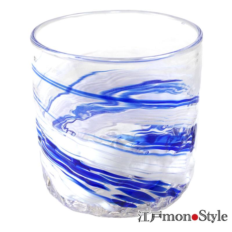 琉球ガラス ロックグラス波渦 マリンブルー