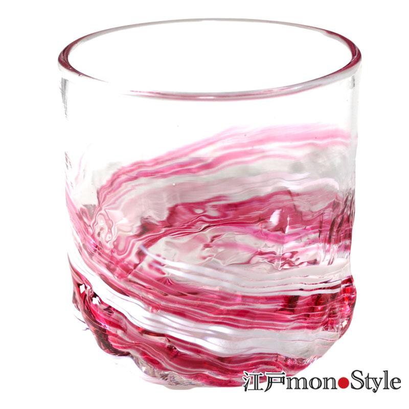 琉球ガラス ロックグラス波渦 ワインレッド