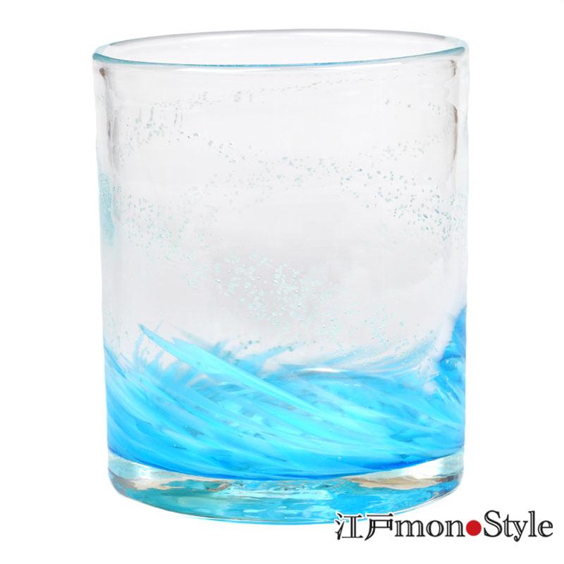 琉球ガラス ロックグラス海蛍 ブルー