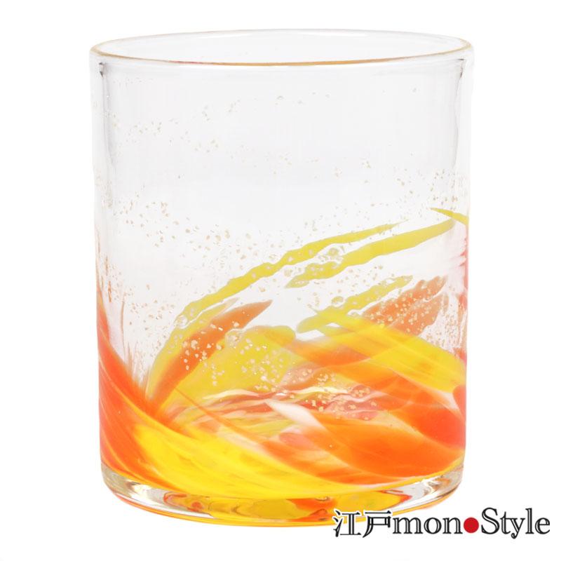 琉球ガラス ロックグラス海蛍 オレンジ