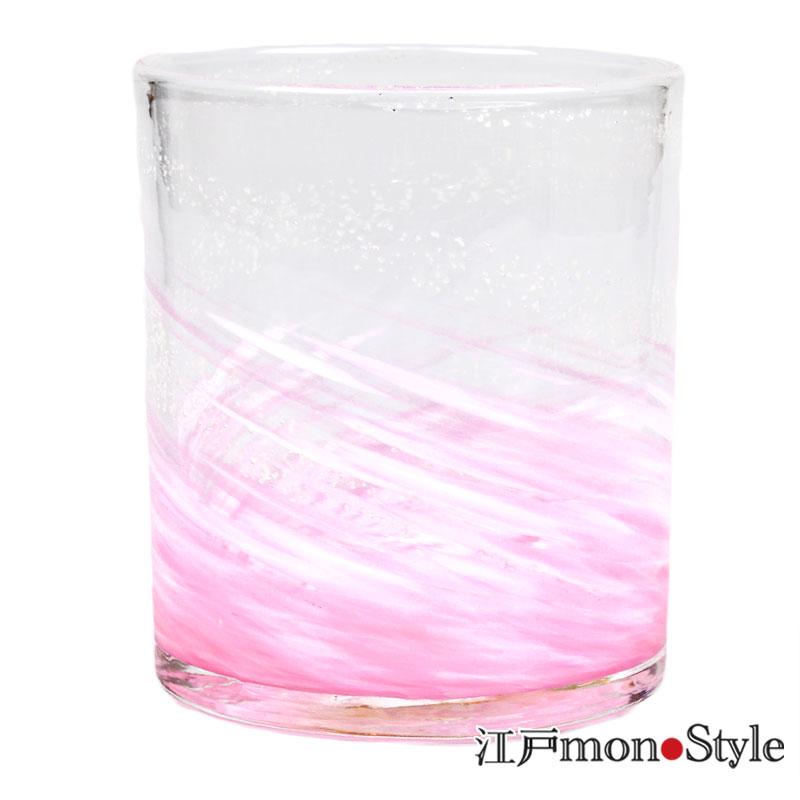 琉球ガラス ロックグラス海蛍 ピンク