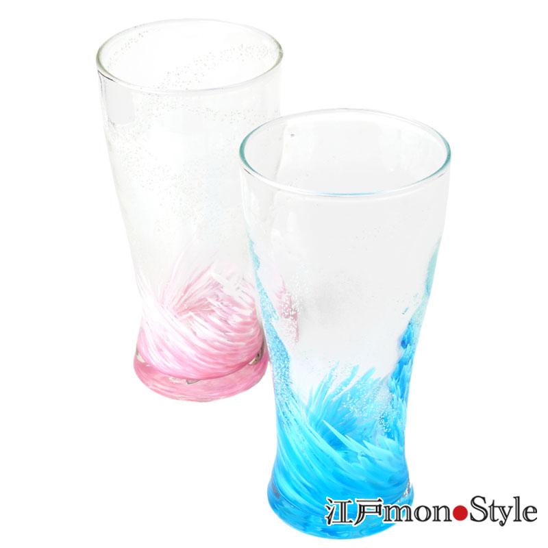 琉球ガラス トールグラス海蛍 ピンクとブルーのペア