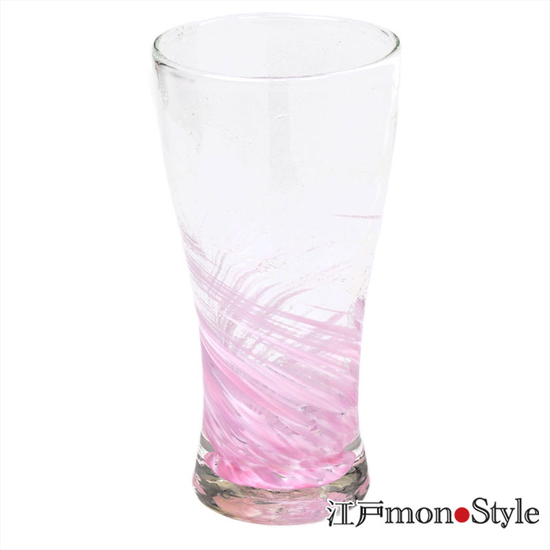 琉球ガラス トールグラス海蛍 ピンク