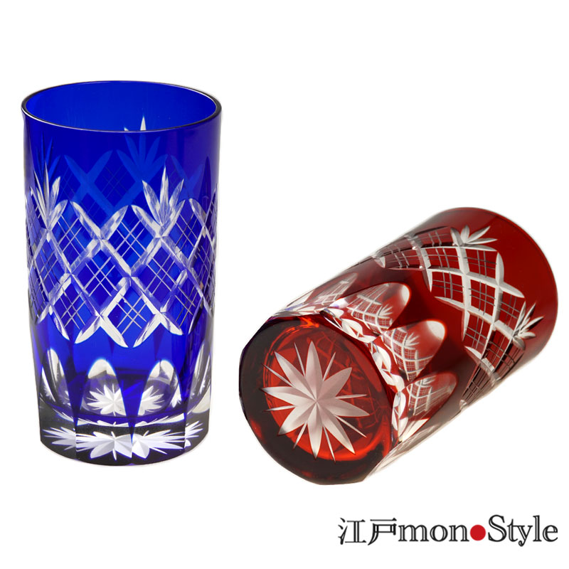 江戸切子タンブラー重ね矢来 赤と瑠璃のペア