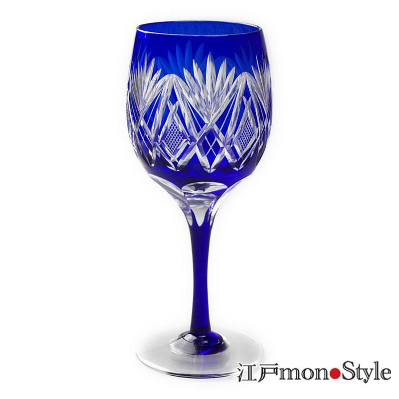江戸切子ワイングラス笹魚子 瑠璃