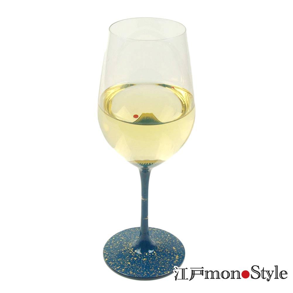 漆絵ワイングラス 青富士