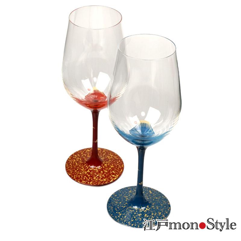 漆絵ワイングラス 赤富士と青富士のペア