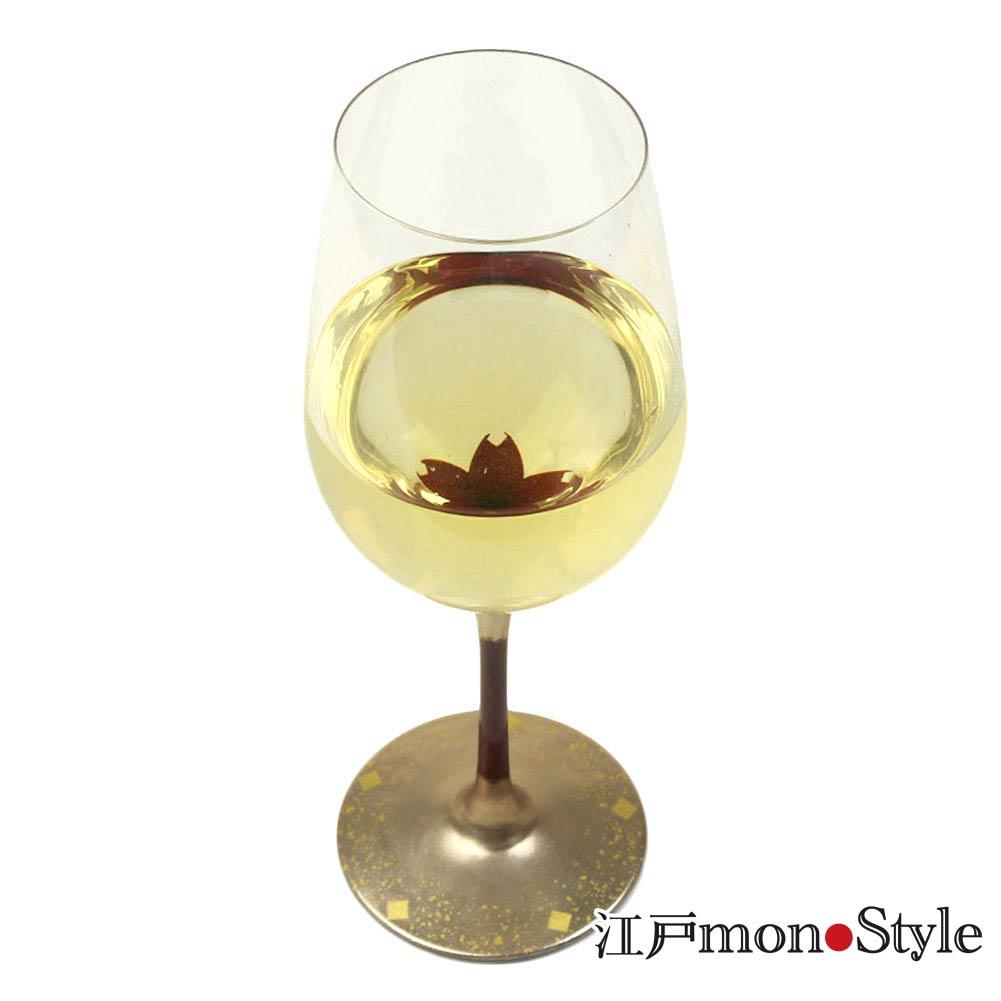 漆絵ワイングラス 桜 単品