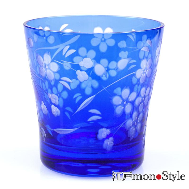江戸切子ロックグラス花切子(桜)青藍