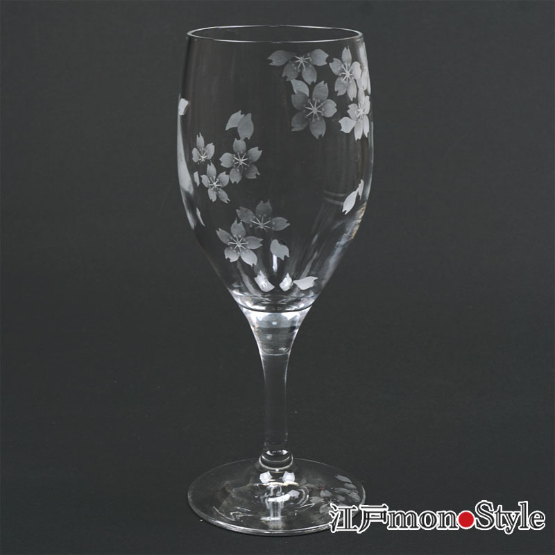 江戸切子ワイングラス花切子(桜) 単品